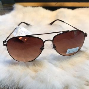 H by Halston Aviator Sunglasses Black Wire Bronze